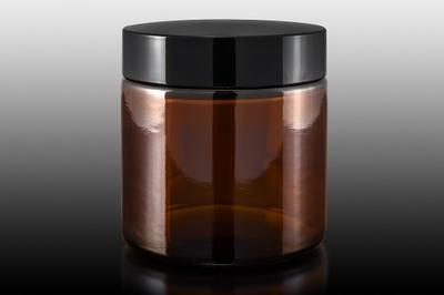 Skleněný kelímek S0208 hnědé sklo 100ml, černé Víčko